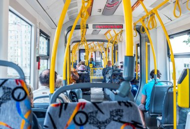 The interior of a modern tram in Moscow.