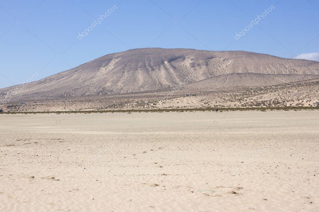 Incredible view of Costa Calma beach, blue clear lagoon. Playa Barca, Fuerteventura, Canary islands, Spain