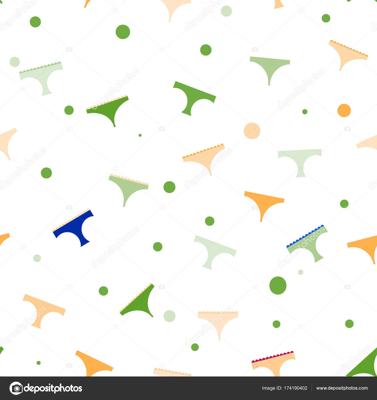 6497823aca Textura transparente de las mujeres verdes panties varios modelos y colores.  Ropa interior colorido patrón femenino — Vector de ...