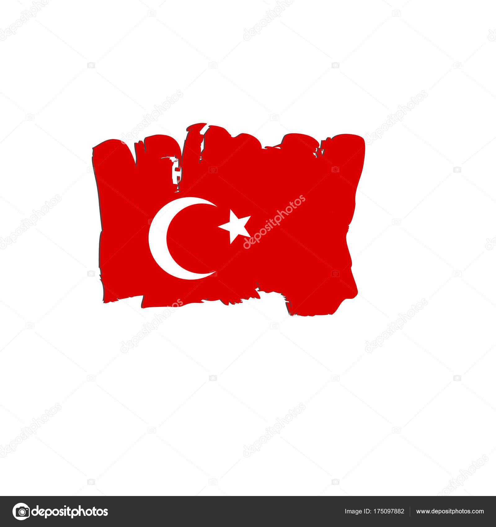 Türkei Flagge von Pinsel Hand Farben gemalt. Kunst-Flagge. Aquarell ...