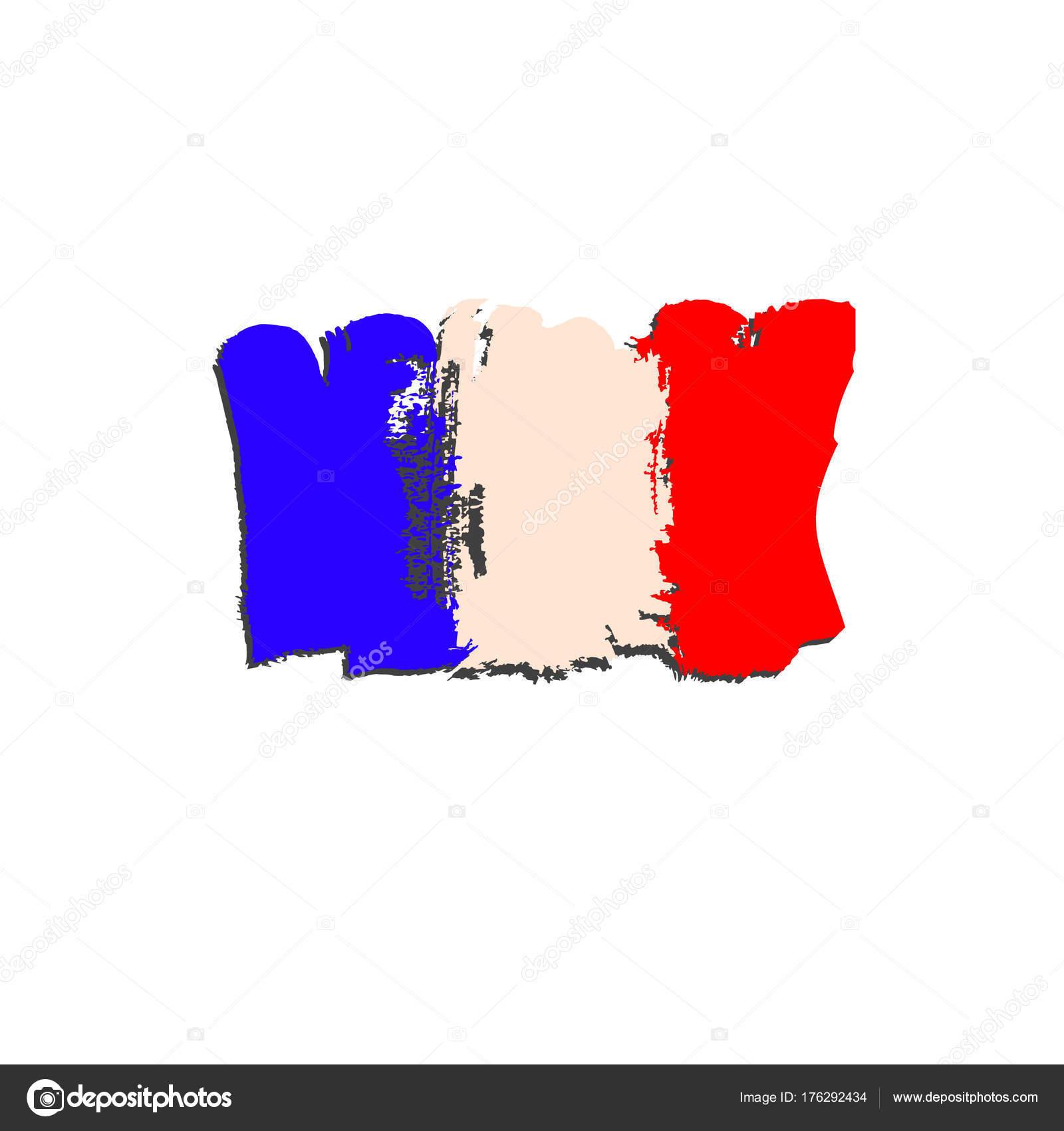 Fransa Bayrağı Fırça El Boya Ile Boyanmış Sanat Bayrak Suluboya