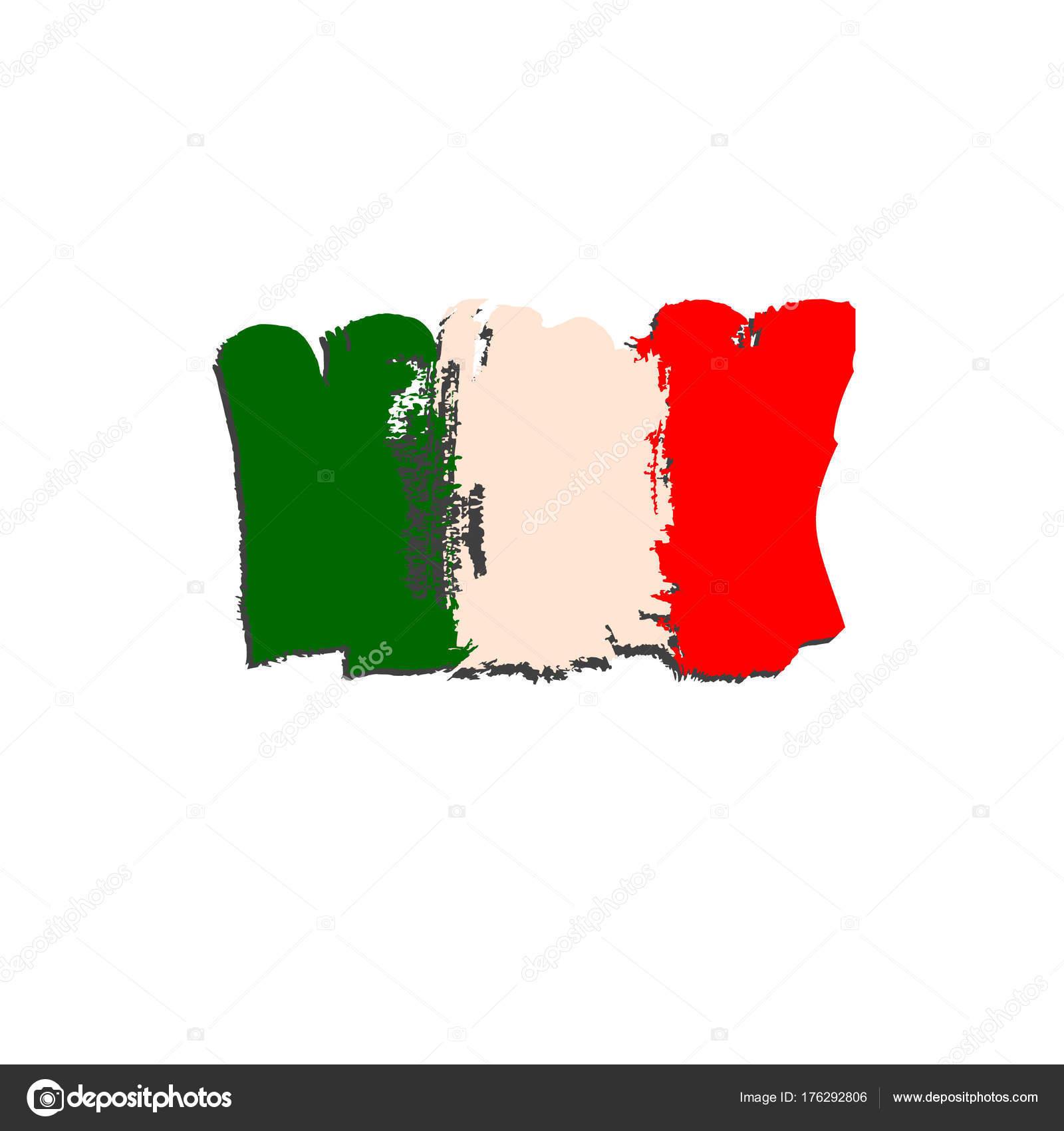 Italyan Bayrağı Fırça El Boya Ile Boyanmış Sanatsal Italya Bayrağı