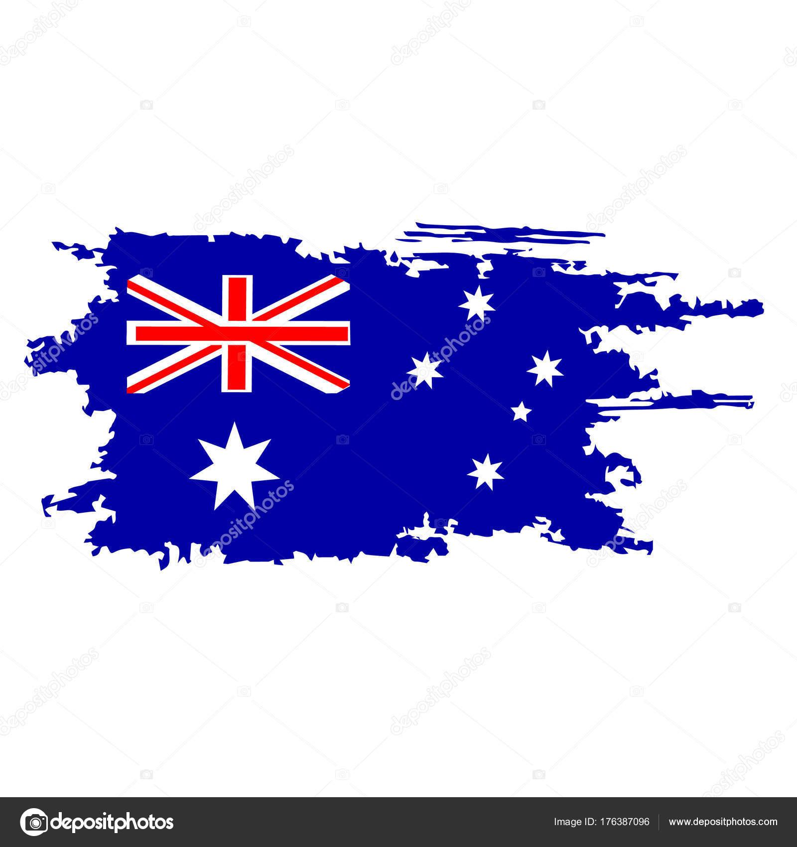 Avustralya Bayrağı Fırça El Boya Ile Boyanmış Sanat Aussie Bayrak