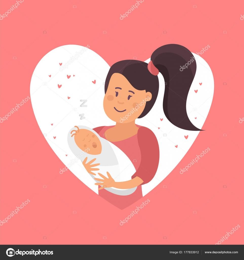 Mom And Baby Symbol Of Love Stock Vector Irinashatilova 177833912