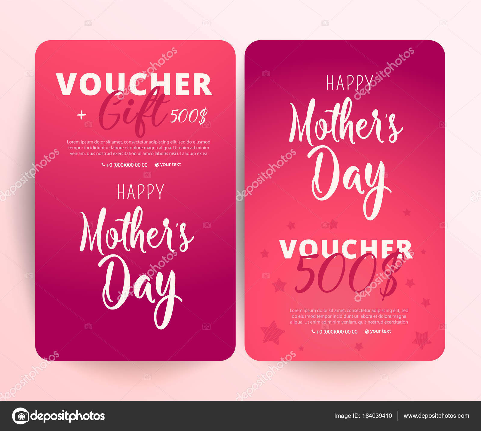 Gift voucher card set template gift certificate coupon template gift certificate coupon template with mother day text on gradient background flat style vector illustration vector by irinashatilova yadclub Choice Image