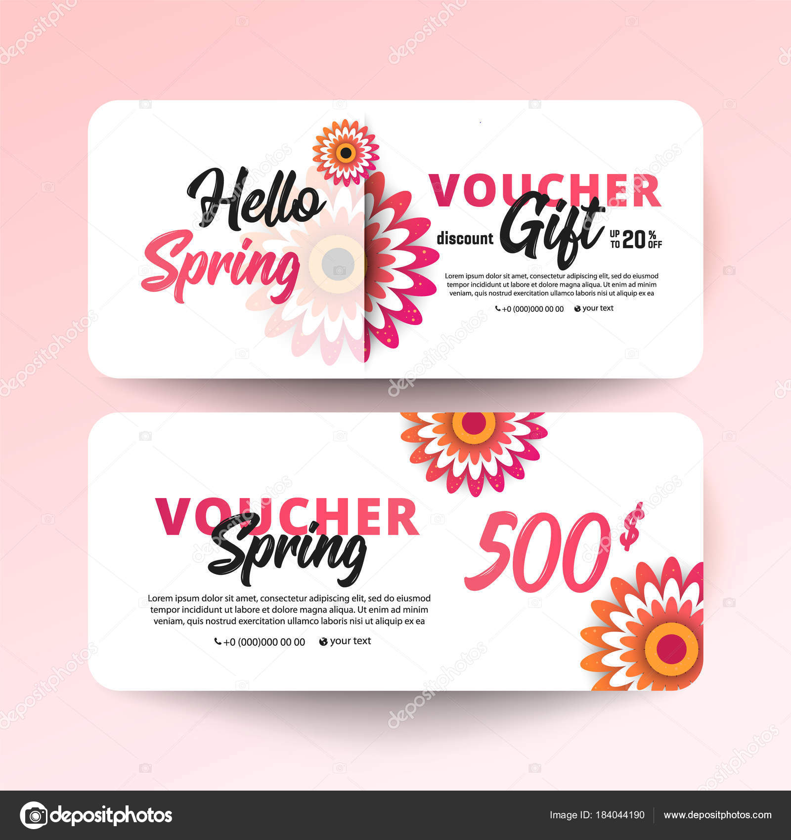 Gift certificate coupon template stock vector irinashatilova gift voucher card set template with flowers on white background paper cut style vector illustration vector by irinashatilova yadclub Gallery