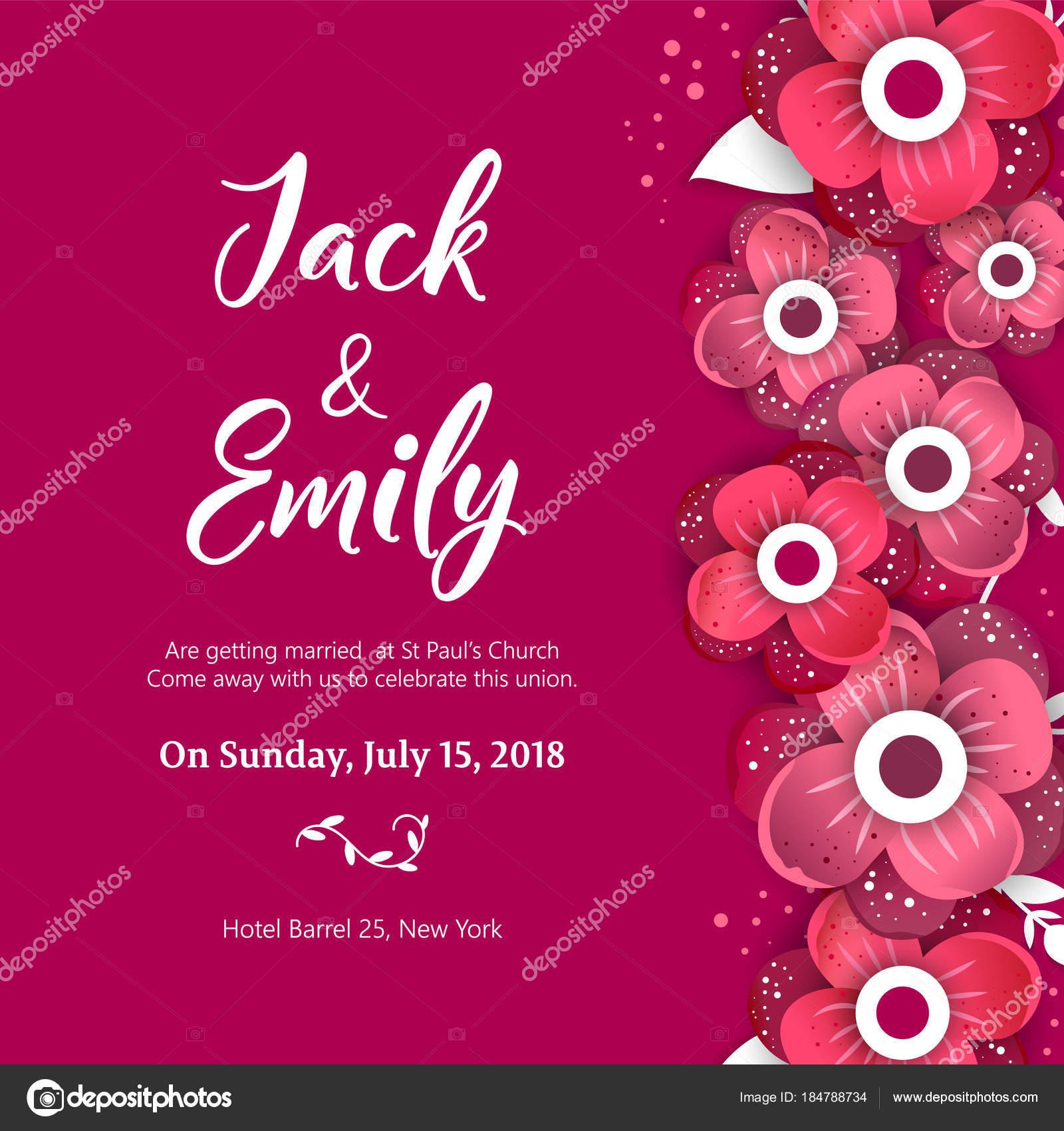Faire Part De Mariage Carte Invitation Floral Design Image