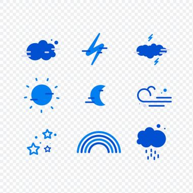 Weather simple icons set for web and mobile design. Mega pack of weather icons. All icons for weather with sample icon