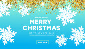 Winter minimal design sale banner with realistic white snowflakes, gold glitter on blue background. Horizontal Christmas poster, greeting cards, headers, website.