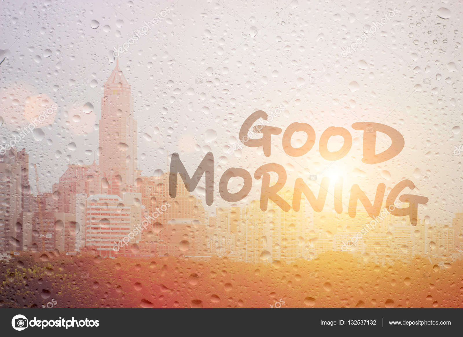 Draw Good Morning Art First Light In Raining Day Stock Photo