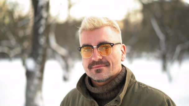 Blond Caucasian Man Rejoices At The First Snow