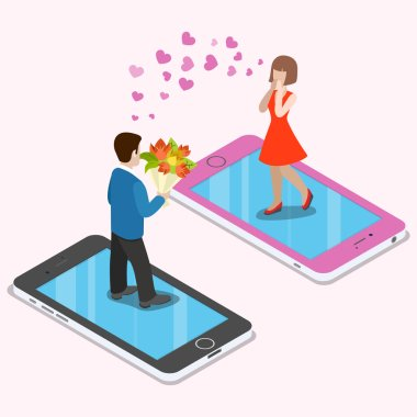 Flat isometric couple date on smartphones vector illustration. 3d isometry virtual mobile love and dating app concept. Man with flower bouquet and amazed red dressed chic. clip art vector