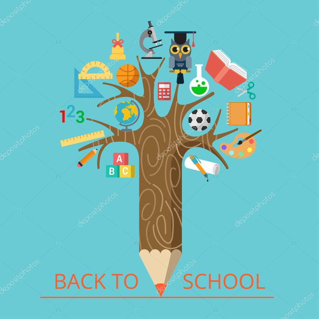 conceptual pencil tree with science