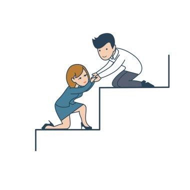 gentleman helping businesswoman to climb
