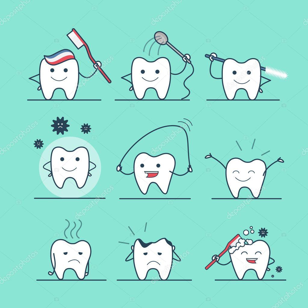 el hilo dental diente lindo — Vector de stock © Sentavio #125671084