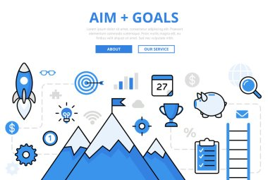 Linear flat AIM + GOALS infographics template