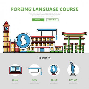 Foreign language course infographics template