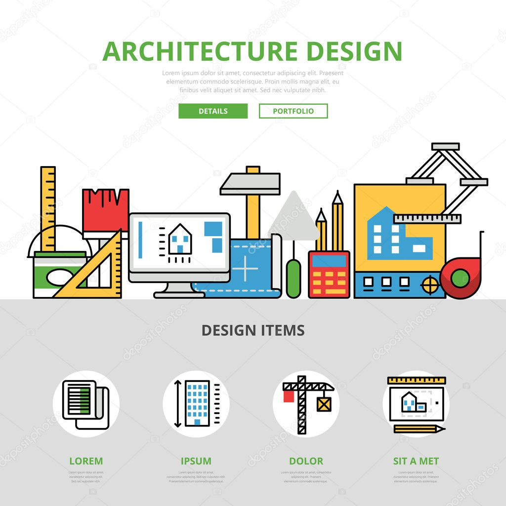 Architecture Design Template linear flat website infographics template and icons website hero