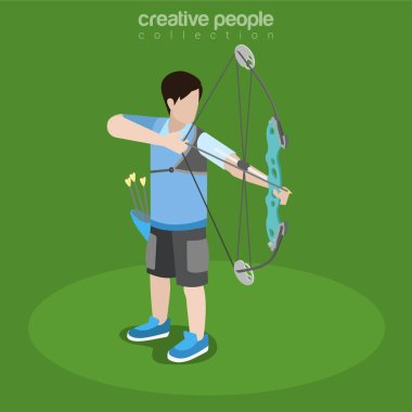 Archery player with bow taking aim