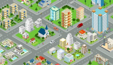 Flat isometric megalopolis blocks infographics