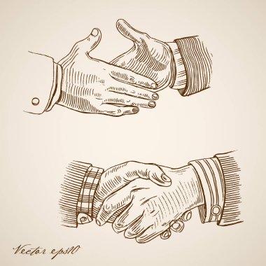 handshake doodle collage