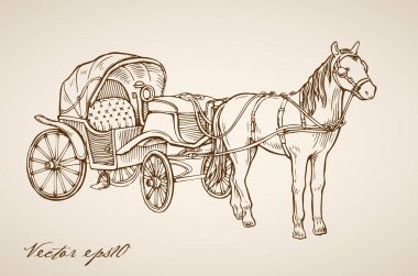 horse-drawn carriage doodle collage