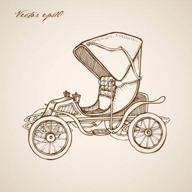retro automobile doodle collage