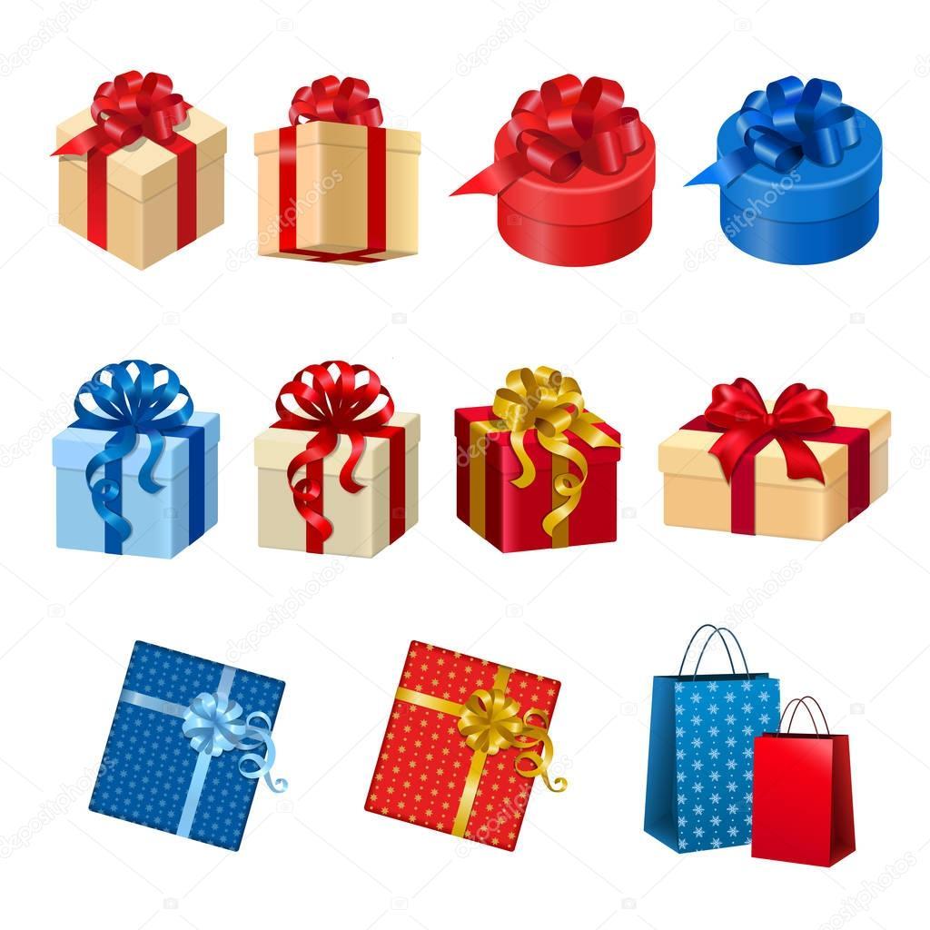 cajas de regalo plano isomtrico y bolsas con lazos de cinta aislado en fondo blanco vector ilustracin conjunto d concepto de vacaciones de invierno y