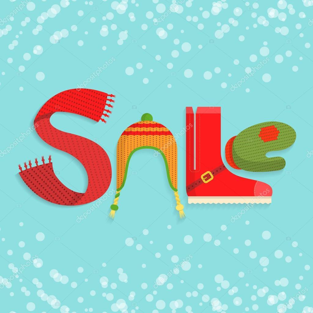 25a4aa987537 Byt prodej slovo vyrobené z oblečení a doplňky v barvách Vánoc na modrém  pozadí zasněžené vektorové ilustrace. Sell-out