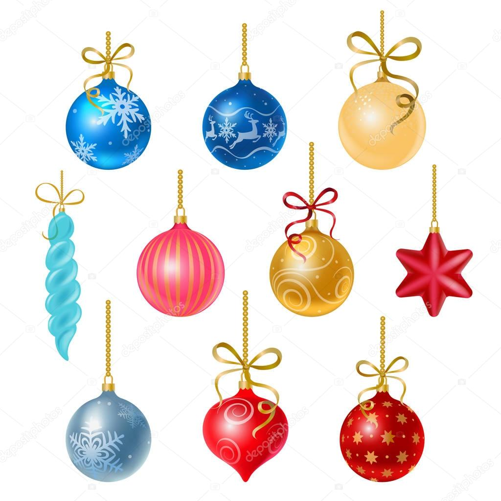 Christmas tree decorations isolated on white background vector ...