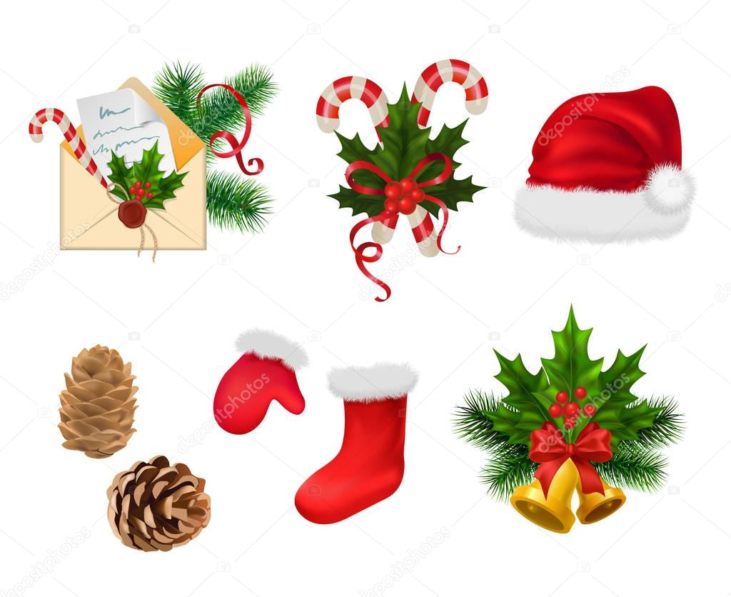 Mitten christmas decorations - Christmas Decorations Isolated On White Background Vector Illustration Set Winter Holidays Concept Santa Claus Hat Mitten Sock Balls Bag