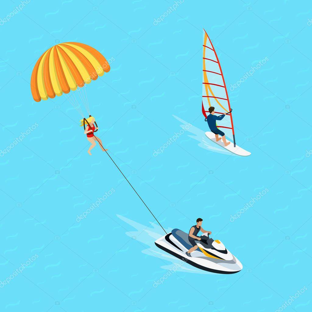 windsurfer and parasailing sportsman