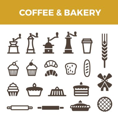 Coffee Bakery icons set for Badges