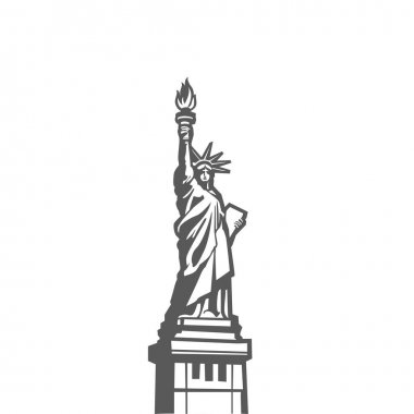 Liberty statue monument vector silhouette full body