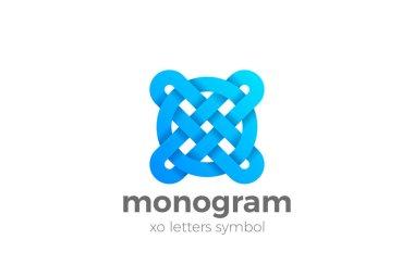 X O Letters monogram Logo design