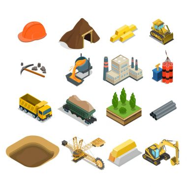gold coal and minerals extraction icons