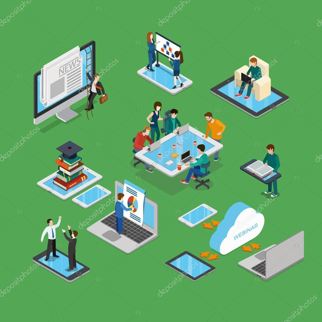 isometric businesspeople brainstorming