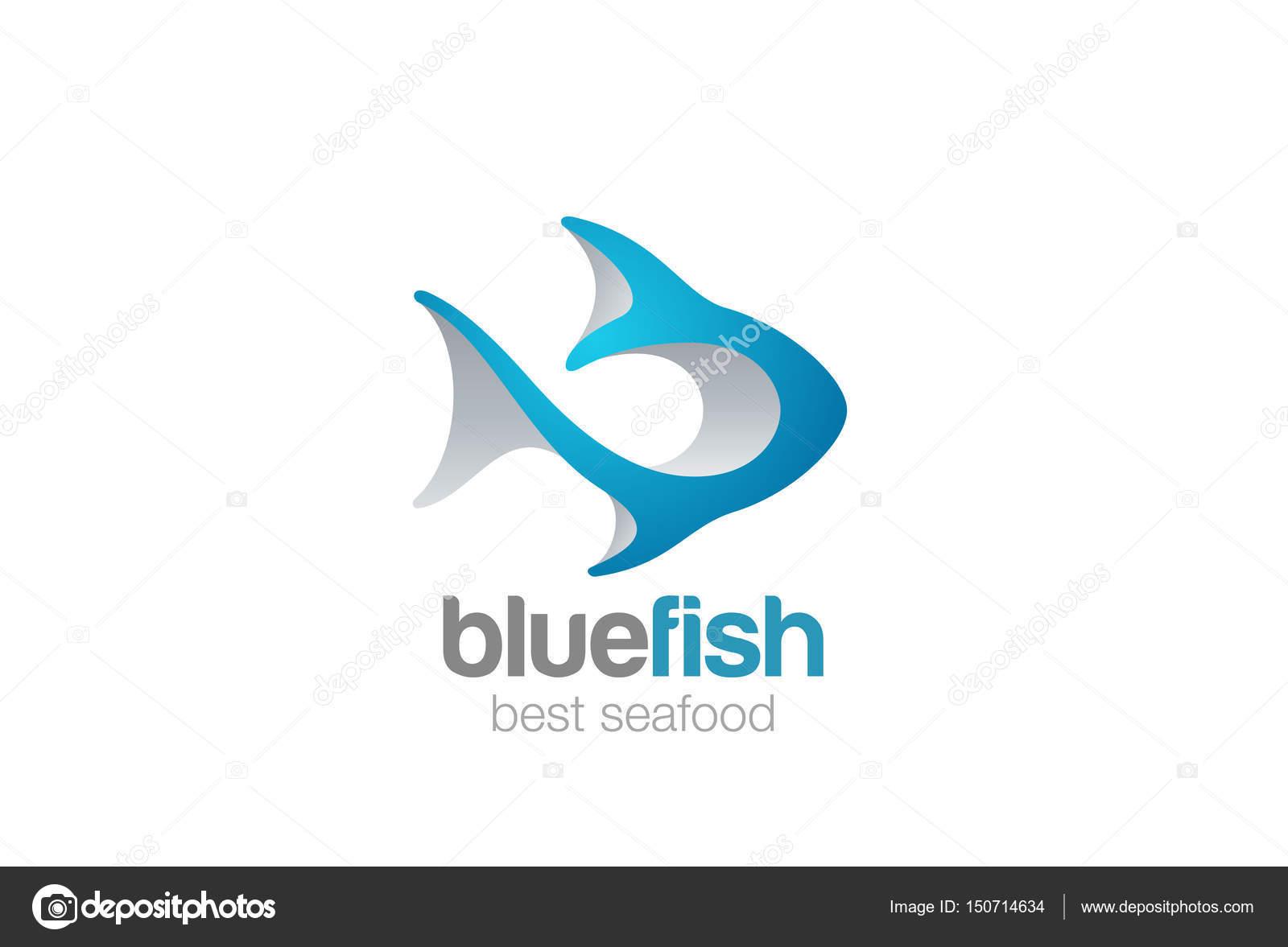 fish logo 3d abstract design vector template stock vector