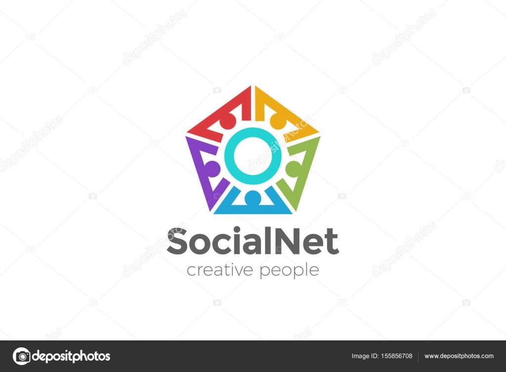 social network logo design vector template pentagon shape stock