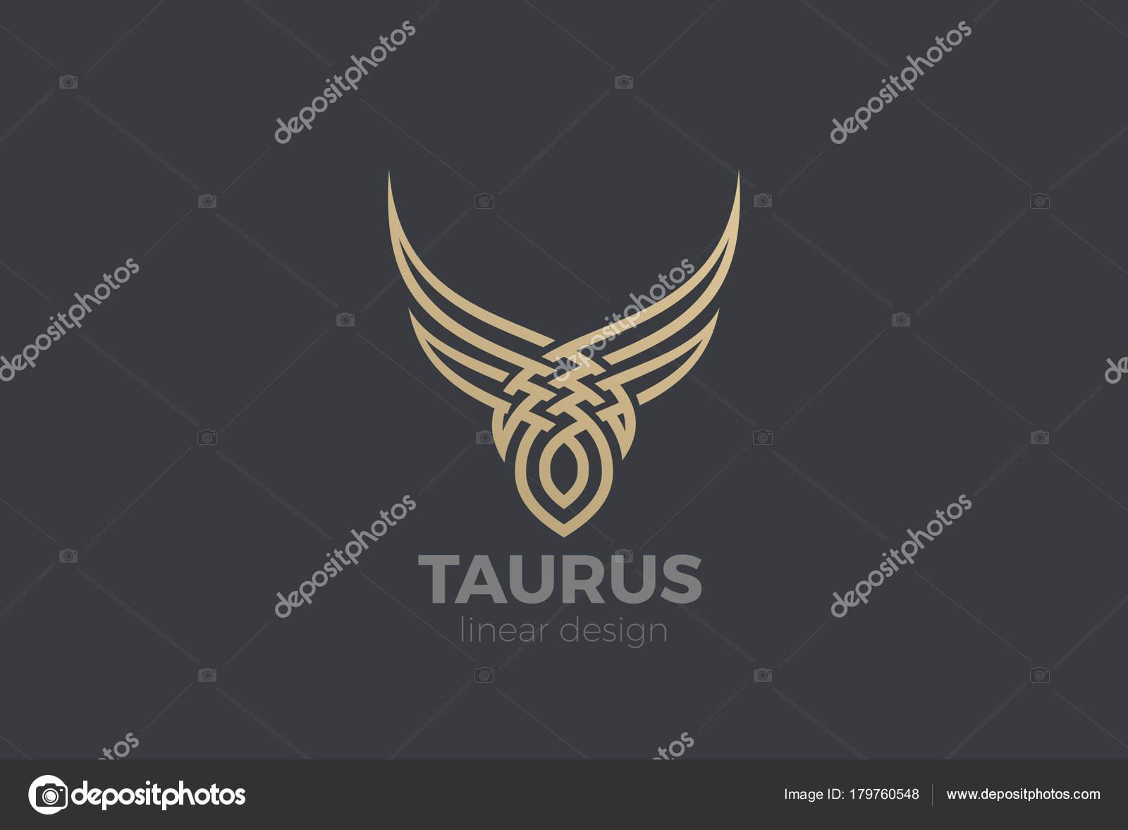 Logotipo De Un Toro Dorado Silueta Abstracta Plantilla