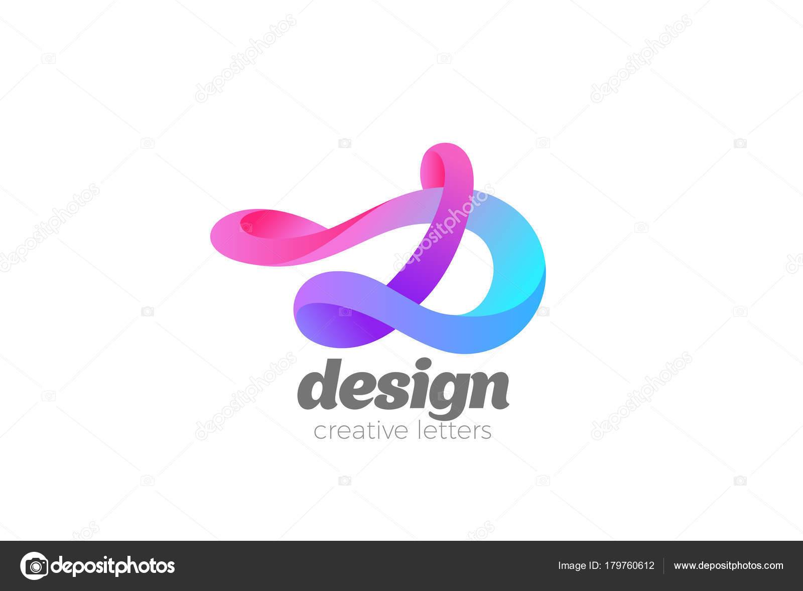 Calligraphic Letter D Logo Colorful Ribbon Design Vector Template Calligraphy Monogram Type Logotype Vintage Icon By Sentavio