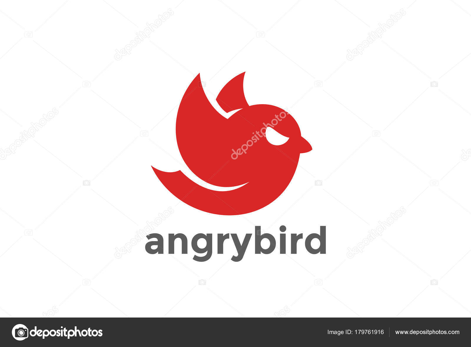 Angry Flying Red Bird Abstract Logo Design Vector Template Stock
