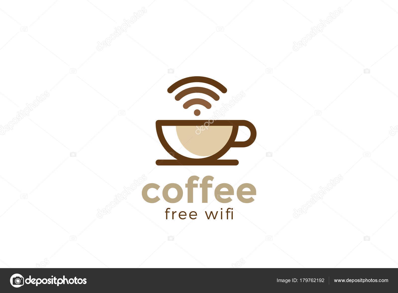 Taza Café Café Con Wifi Gratis Plantilla Vector Diseño Logotipo ...