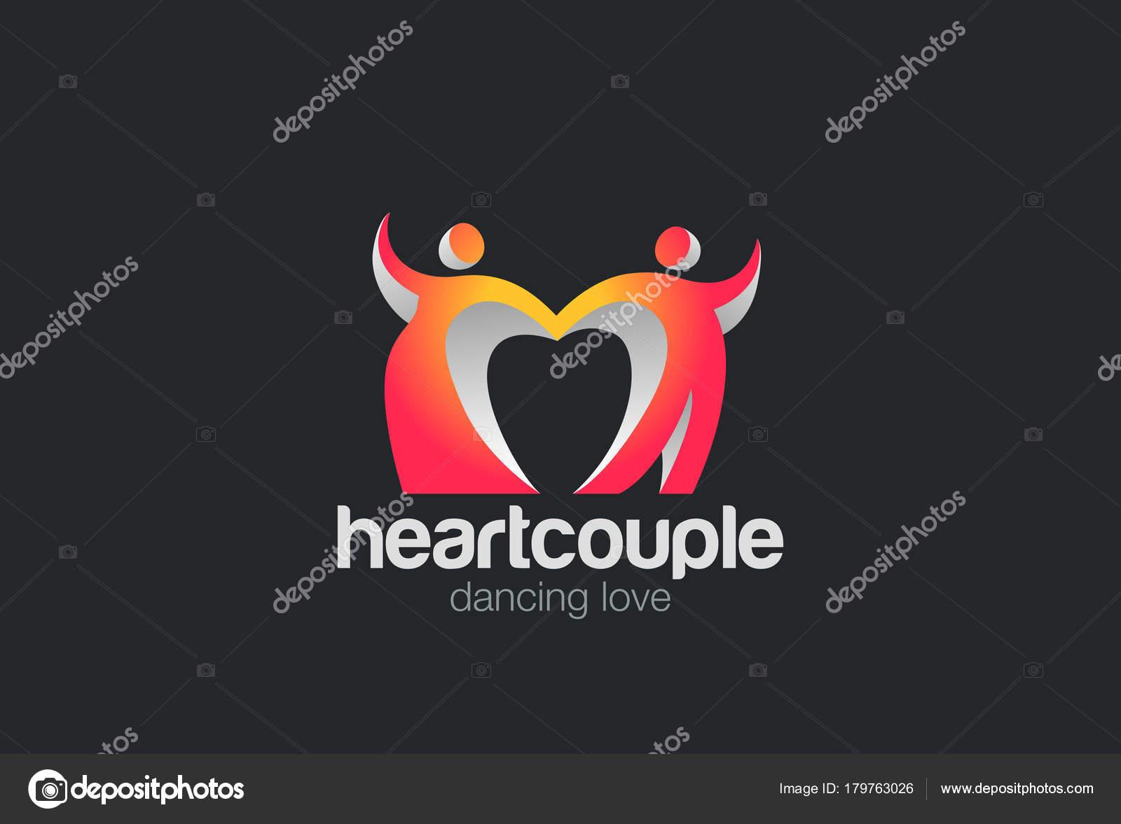 Tanzpaar Mit Herz Logo Design Vektor Vorlage — Stockvektor ...