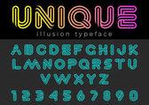 Fényképek Lineáris illúzió vektor betűtípus, fejléc, betűk, cím, logó