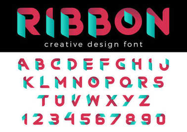 Creative Design vector Font of Ribbon for Title, Header, Lettering, Logo