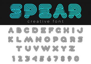Linear Rounded Design vector Font for Title, Header, Lettering, Logo