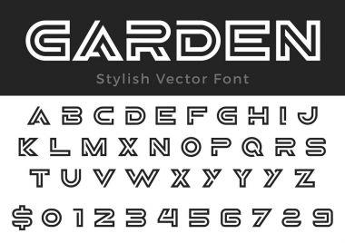 Creative Design vector linear Font for Title, Header, Lettering, Logo, Monogram stock vector