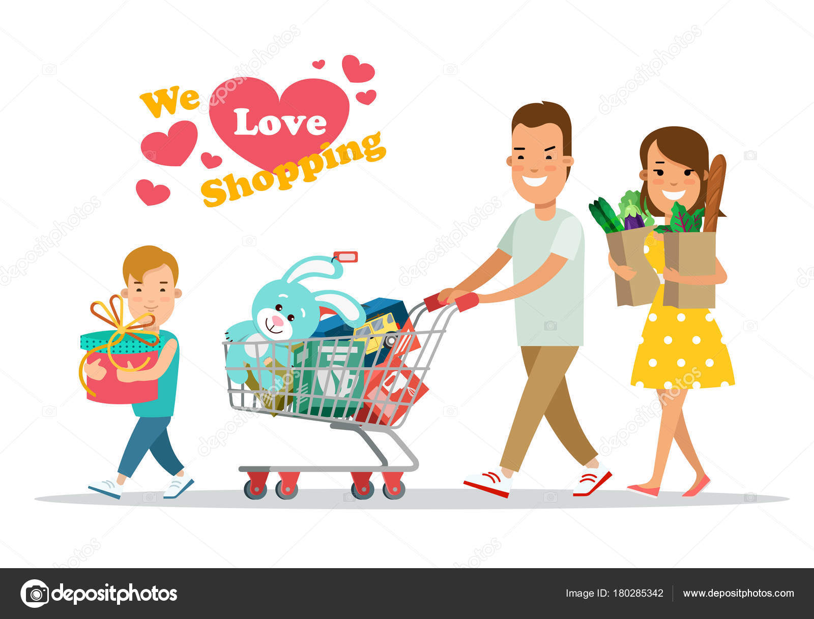 682f97b9d7d5b Flat Happy parents and child with purchases on cart vector illustration.  Son with mother and father. Shopping family concept. — Vector by Sentavio