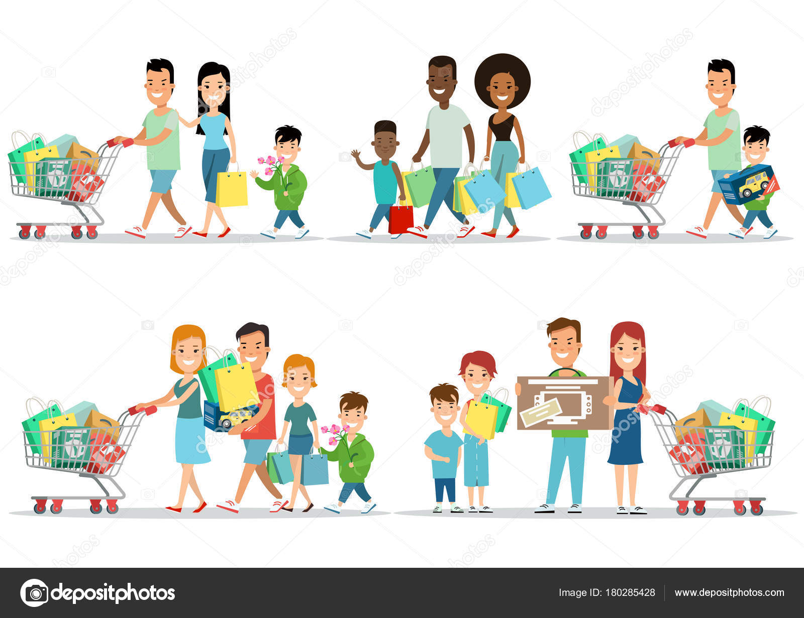 ba95d32931677 Flat Happy parents and children with purchases on cart vector illustration  set. Son, daughter with mother, father. Family shopping concept.